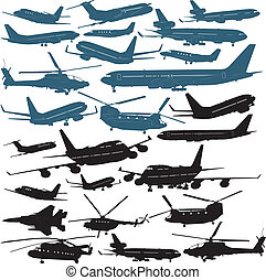 Airplanes - Vector illustrations of passenger airliners,...