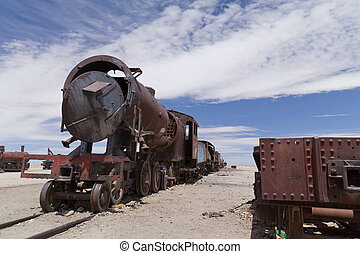 Train cemetery in Uyuni desert in Bolivia.