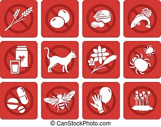 Common allergies icons, Ideal for menus, lunchrooms and...