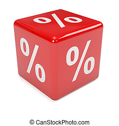 3d Percent sign red dice