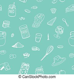 Bakery and desserts pattern - Seamless pattern of bakery and...