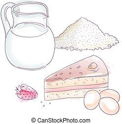 Cake ingredients - Flour, milk and eggs for bakery, EPS10...