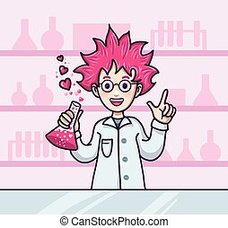 Dr Love - Scientist character with pink hair mak