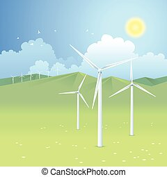Wind power - Sunny landscape with windmills, renewable...