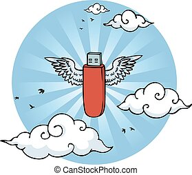 Flying pen drive with wings in the sky between clouds