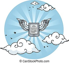 Flying e-reader with wings in the sky between clouds