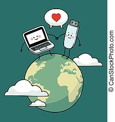 Laptop and pen drive in love - Laptop and pen drive sharing...