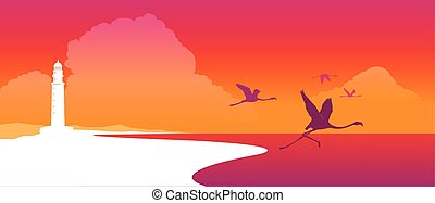 Flamingos flying at sunset