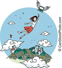 Girl flying by laptop - Girl flying over the earth carried...