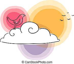 Migration - sad bird on a cloud watching its companions...