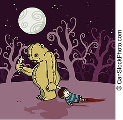 Halloween monster dragging a dead boy - A monster teddy bear...