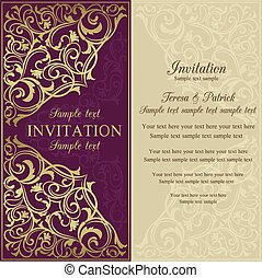 Orient invitation, purple and beige - Orient east invitation...