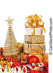 Beautiful Gift box in gold wrapping paper isolated on a white ba