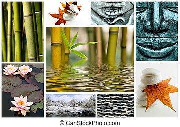 Zen, semelhante, quadro, colagem