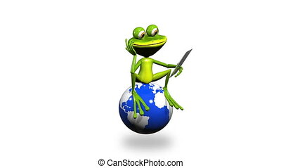 frog on a globe with the tablet
