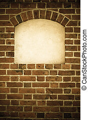 Old arch arc niche with copy space in brick wall background...