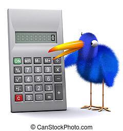 3d Blue bird has a calculator - 3d render of a blue bird...