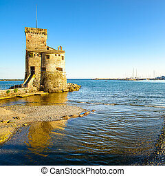 Rapallo, the medieval castle on the sea Genoa, Ligury, Italy...