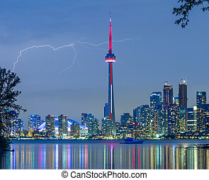 lightning over Toronto Downtown Skyline - Toronto Downtown...