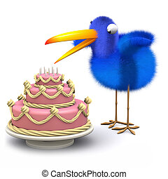 3d Blue bird has a lovely cake - 3d render of a bluebird...