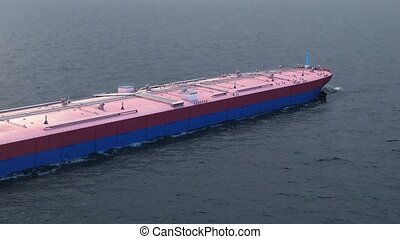 Oil tanker in the ocean - Red oil tanker in the ocean, 3d...