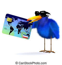 3d Blue bird pays with a credit card - 3d render of a blue...