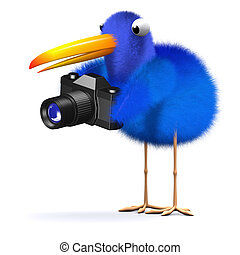 3d Blue bird with a camera - 3d render of a bluebird holding...