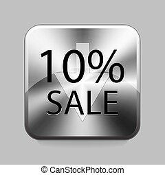 Chrome button - 10% sale chrome or metal button or icon...