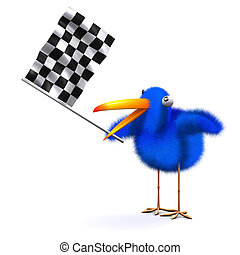 3d Blue bird waves the checkered flag