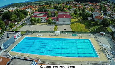 Swimming pool, aerial shot - Copter aerial view of the...