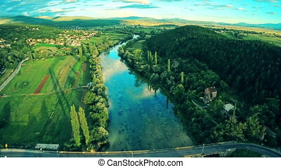 Cetina river, aerial shot - Copter aerial view of the Cetina...