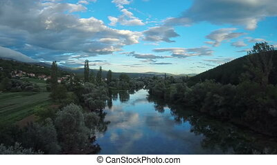 Cetina river, circular aerial shot - Copter aerial view of...