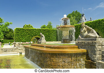 Fountain in the park of roses Germany, Baden-Baden