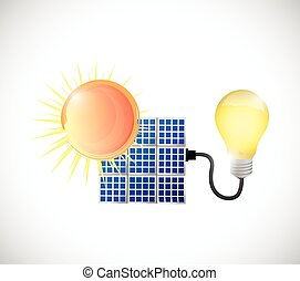 sun, solar panel and energy illustration design over a white...