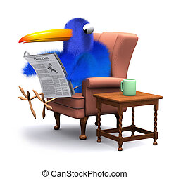 3d Blue bird reads the paper in a comfortable chair - 3d...