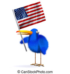 3d Blue bird with an American flag