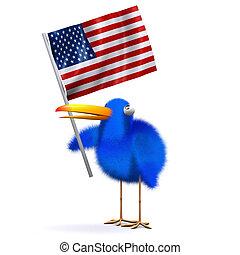 3d Blue bird with an American flag - 3d render of a blue...