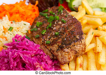 meat steak close up - meat steak with french fries nd red...