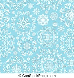 Vector seamless snow pattern - Winter blue illustration with...