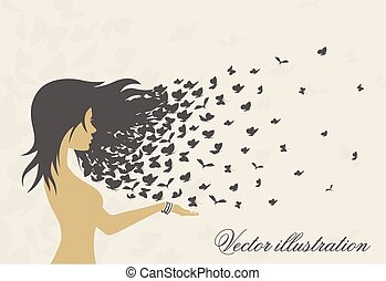 women's hairstyles and hair with butterflies