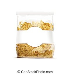 Vector Pasta Shells Packaging Template Isolated on White...