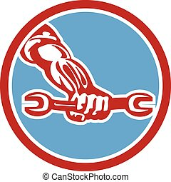 Mechanic Hand Holding Spanner Circle Retro