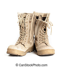 Combat boots on isolated white background