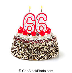 Birthday cake with burning candle number 66