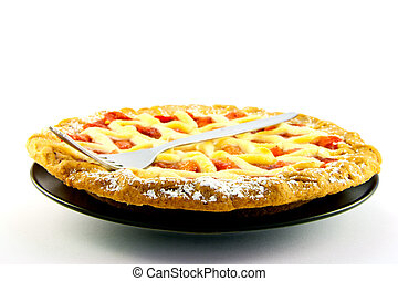 Whole Apple and Strawberry Pie with a Fork