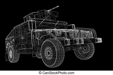 Military Vehicle with tower and machine gun ,body structure,...