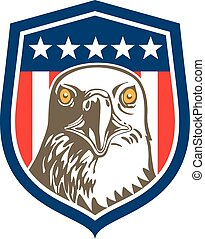 American Bald Eagle Head Stars Shield Retro