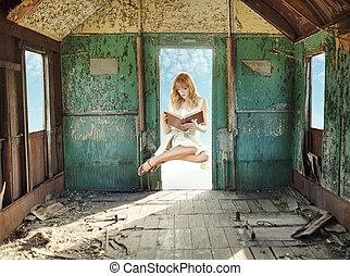 Levitating lady reading in the hovel - Levitating redhead...