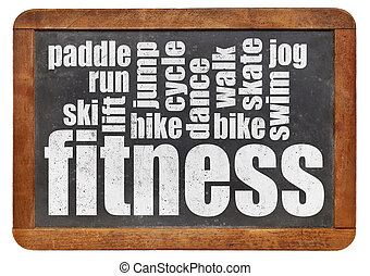 fitness word cloud on a vintage slate blackboard isolated on...