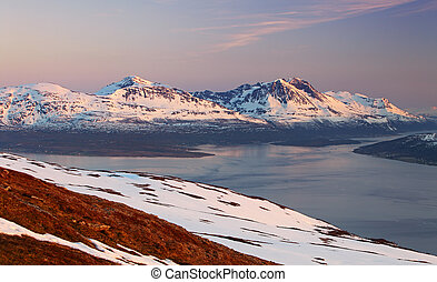 Mountain at winter in Norway, Tromso